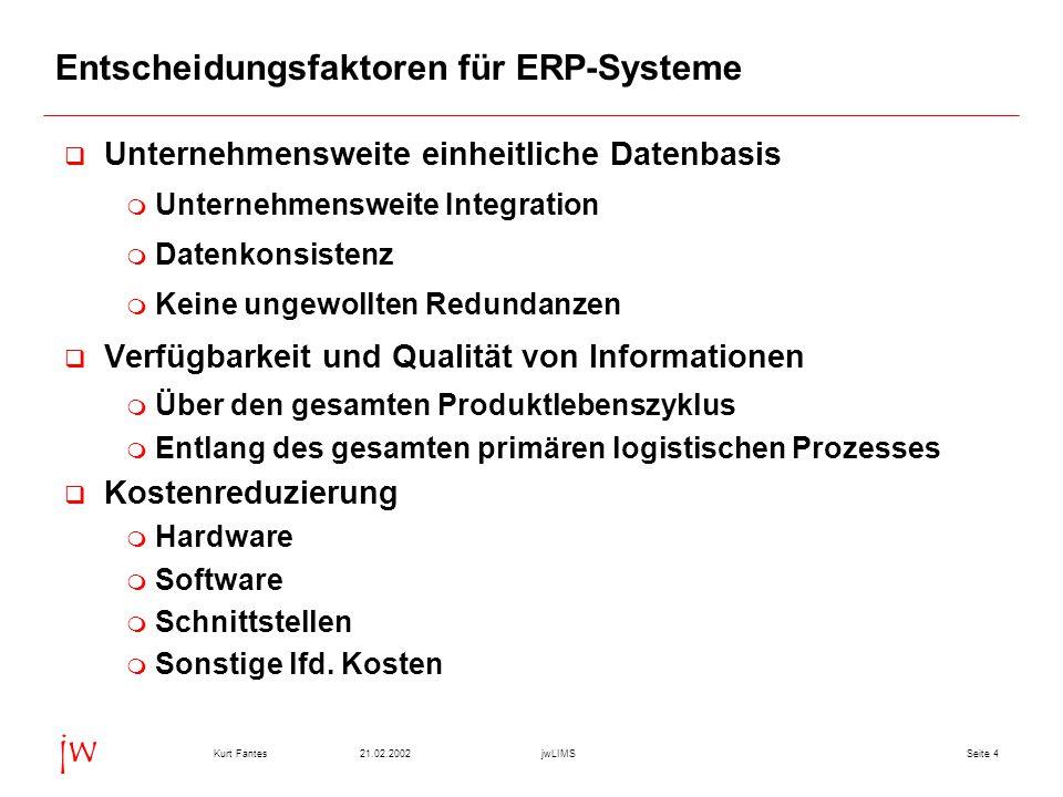 Seite 421.02.2002Kurt FantesjwLIMS jw Entscheidungsfaktoren für ERP-Systeme  Unternehmensweite einheitliche Datenbasis  Unternehmensweite Integratio