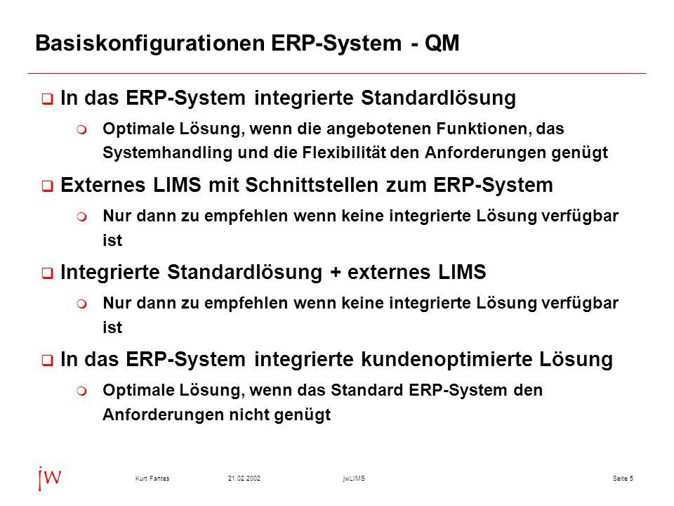 Seite 521.02.2002Kurt FantesjwLIMS jw Basiskonfigurationen ERP-System - QM q In das ERP-System integrierte Standardlösung m Optimale Lösung, wenn die angebotenen Funktionen, das Systemhandling und die Flexibilität den Anforderungen genügt q Externes LIMS mit Schnittstellen zum ERP-System m Nur dann zu empfehlen wenn keine integrierte Lösung verfügbar ist q Integrierte Standardlösung + externes LIMS m Nur dann zu empfehlen wenn keine integrierte Lösung verfügbar ist q In das ERP-System integrierte kundenoptimierte Lösung m Optimale Lösung, wenn das Standard ERP-System den Anforderungen nicht genügt