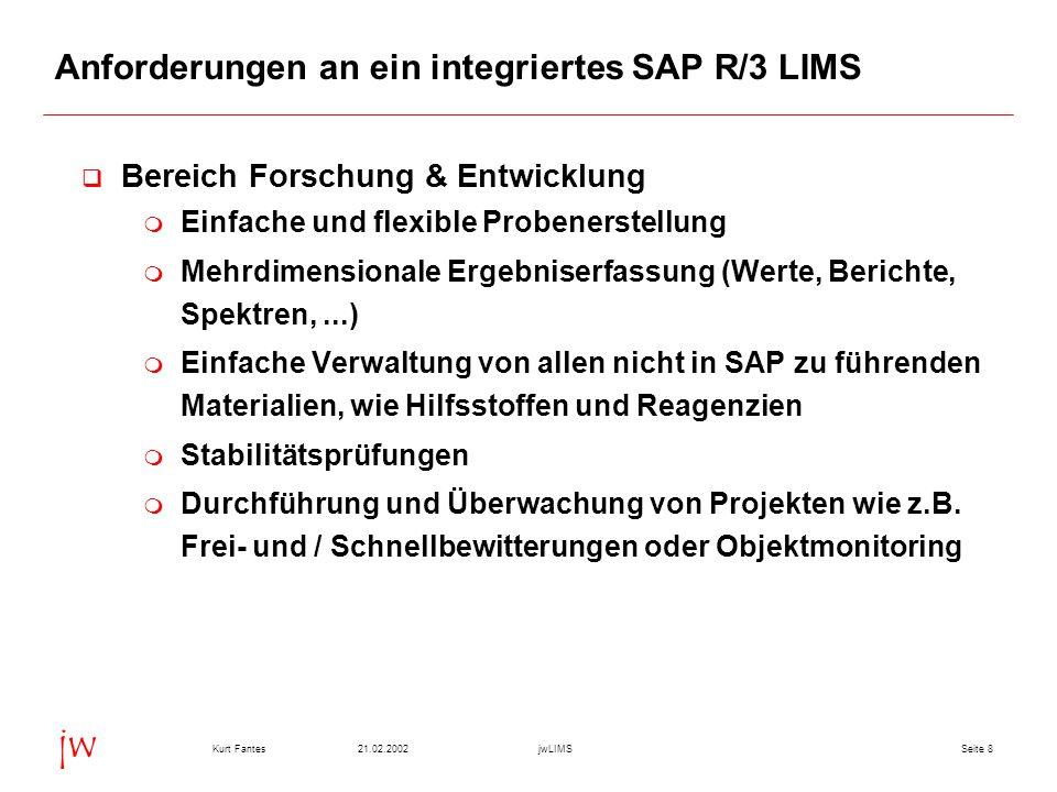 Seite 821.02.2002Kurt FantesjwLIMS jw Anforderungen an ein integriertes SAP R/3 LIMS  Bereich Forschung & Entwicklung  Einfache und flexible Probene
