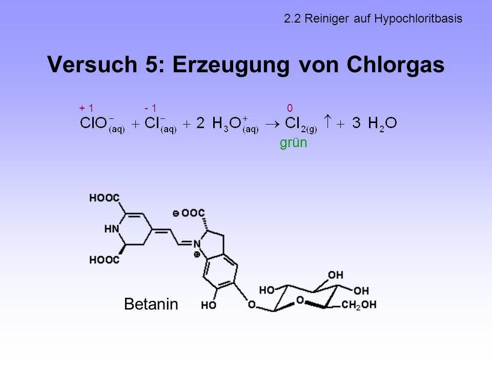 Versuch 5: Erzeugung von Chlorgas 2.2 Reiniger auf Hypochloritbasis + 1- 1 0 grün Betanin