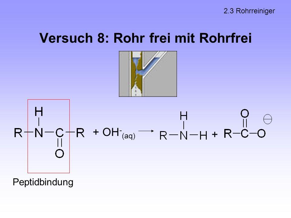 Versuch 8: Rohr frei mit Rohrfrei 2.3 Rohrreiniger Peptidbindung + OH - (aq) +