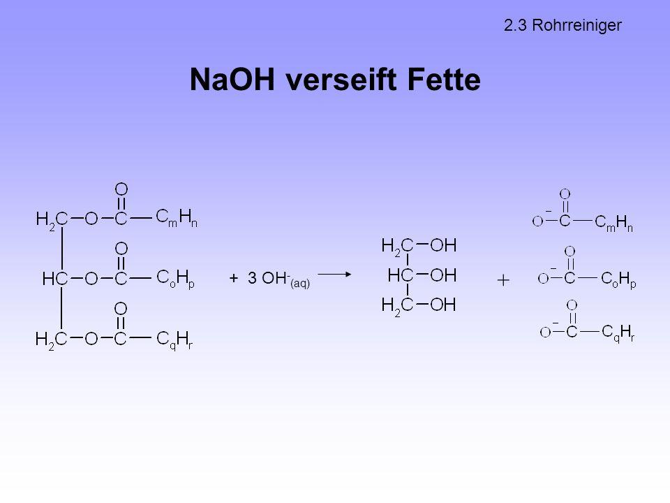 NaOH verseift Fette 2.3 Rohrreiniger + 3 OH - (aq) +