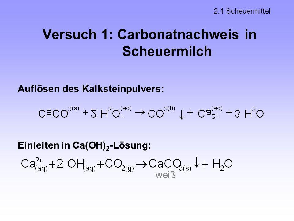 Versuch 1: Carbonatnachweis in Scheuermilch 2.1 Scheuermittel Auflösen des Kalksteinpulvers: weiß Einleiten in Ca(OH) 2 -Lösung: