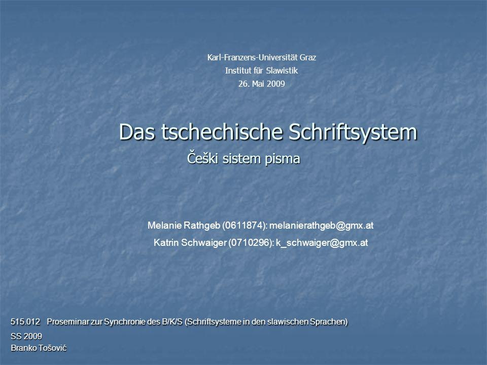 2 Aufbau (1) Die Entwicklung des Tschechischen Sprach- und Schriftsystems (1) Geschichte des Tschechischen ………………………………………………………………………...3 (2) Entwicklungsphasen ……………………………………………………………………………………………4 (2) Das Tschechische Schriftsystem heute (1) Das tschechische Alphabet ………………………………………………………………………………14 (2) Besonderheiten der Grammatik ………………………………………………………………………22 (3) Beispiele ……………………………………………………………………………………………………………….24