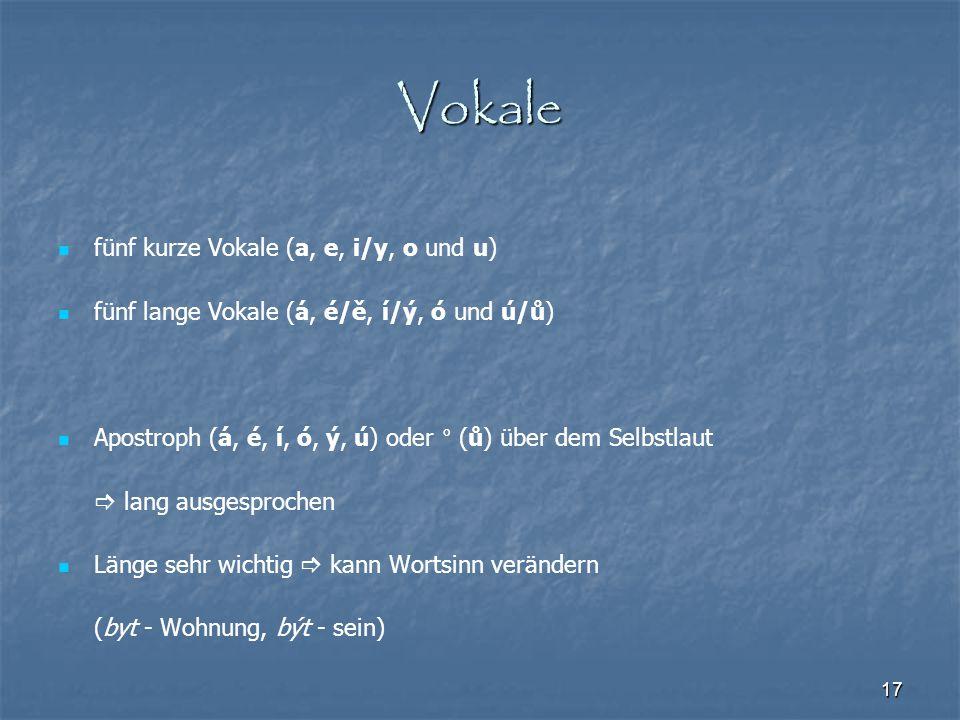 17 Vokale fünf kurze Vokale (a, e, i/y, o und u) fünf lange Vokale (á, é/ě, í/ý, ó und ú/ů) Apostroph (á, é, í, ó, ý, ú) oder ° (ů) über dem Selbstlau