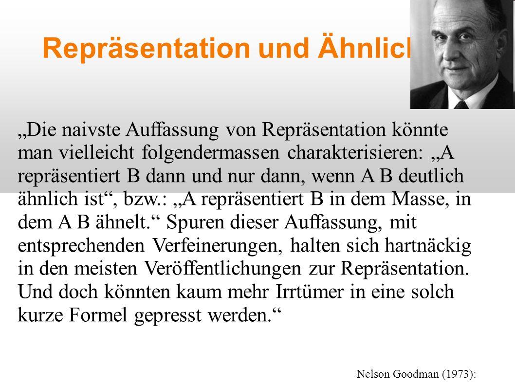 """Repräsentation und Ähnlichkeit """"Die naivste Auffassung von Repräsentation könnte man vielleicht folgendermassen charakterisieren: """"A repräsentiert B dann und nur dann, wenn A B deutlich ähnlich ist , bzw.: """"A repräsentiert B in dem Masse, in dem A B ähnelt. Spuren dieser Auffassung, mit entsprechenden Verfeinerungen, halten sich hartnäckig in den meisten Veröffentlichungen zur Repräsentation."""