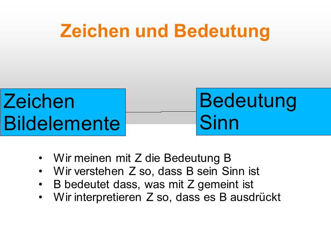 Zeichen und Bedeutung Zeichen Bildelemente Bedeutung Sinn Wir meinen mit Z die Bedeutung B Wir verstehen Z so, dass B sein Sinn ist B bedeutet dass, was mit Z gemeint ist Wir interpretieren Z so, dass es B ausdrückt