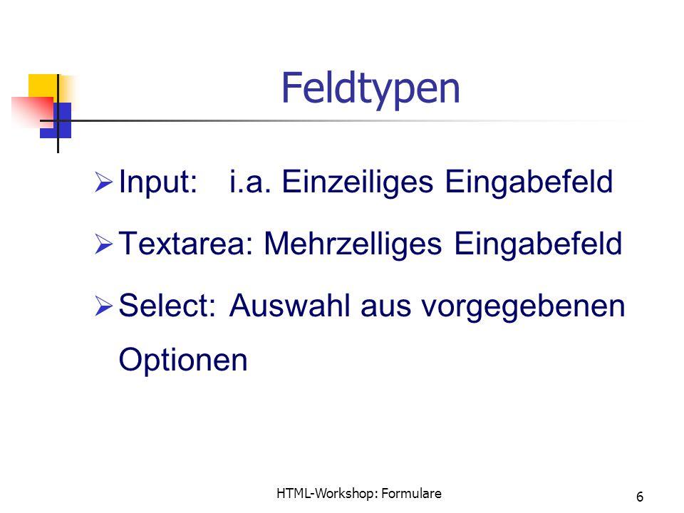 HTML-Workshop: Formulare 6 Feldtypen  Input:i.a.