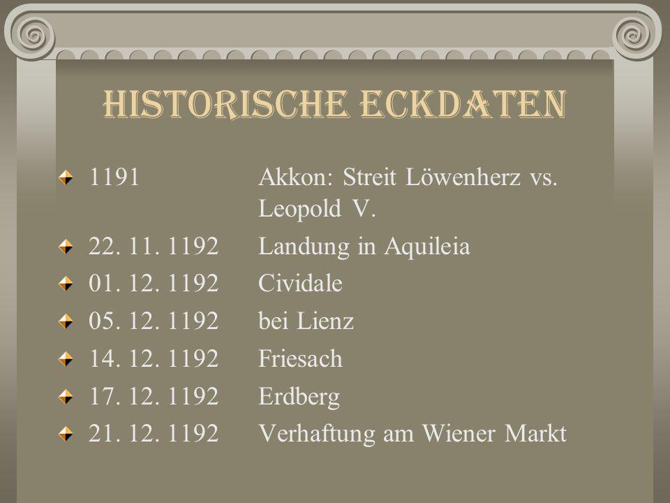 Löwenherz Historische Eckdaten Handelnde Personen a) Historische Personen b) Erfundene Personen Reiseroute Handlung