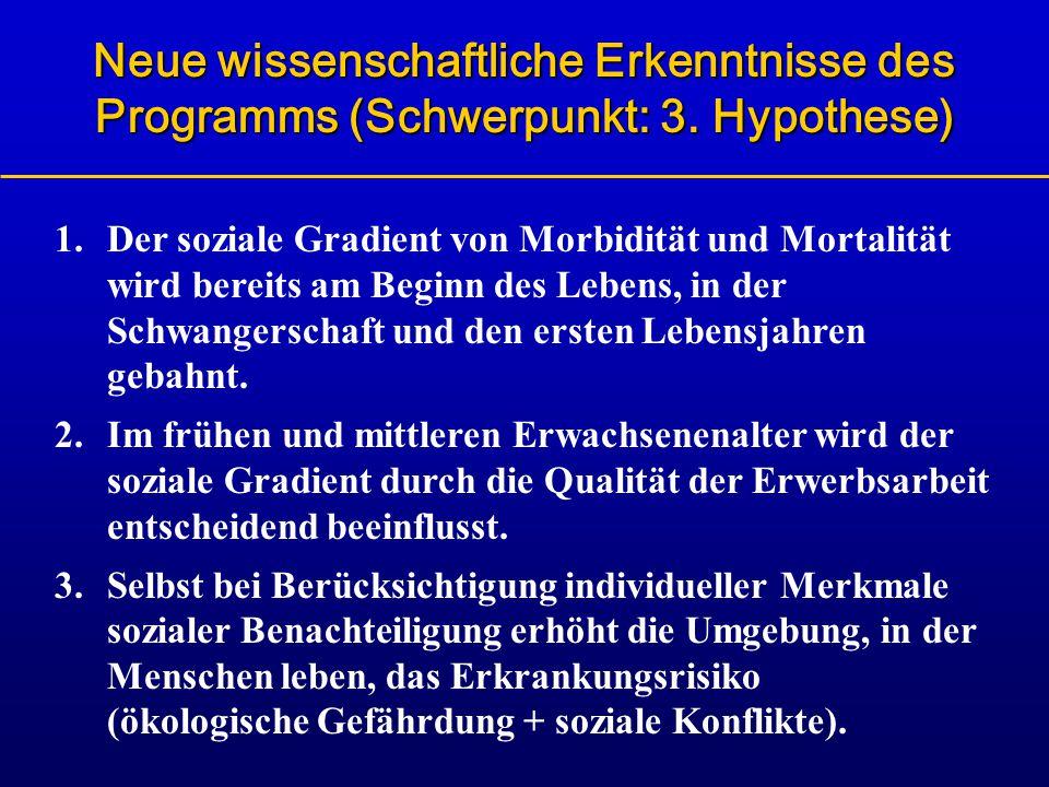 Neue wissenschaftliche Erkenntnisse des Programms (Schwerpunkt: 3. Hypothese) 1.Der soziale Gradient von Morbidität und Mortalität wird bereits am Beg