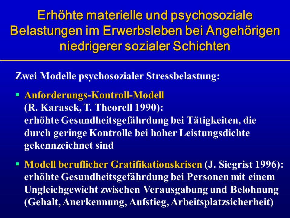Erhöhte materielle und psychosoziale Belastungen im Erwerbsleben bei Angehörigen niedrigerer sozialer Schichten Zwei Modelle psychosozialer Stressbela