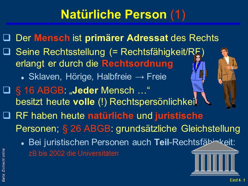 Einf 4- 1 Barta: Zivilrecht online Natürliche Person (1) qDer Mensch ist primärer Adressat des Rechts qSeine Rechtsstellung (= Rechtsfähigkeit/RF) erl