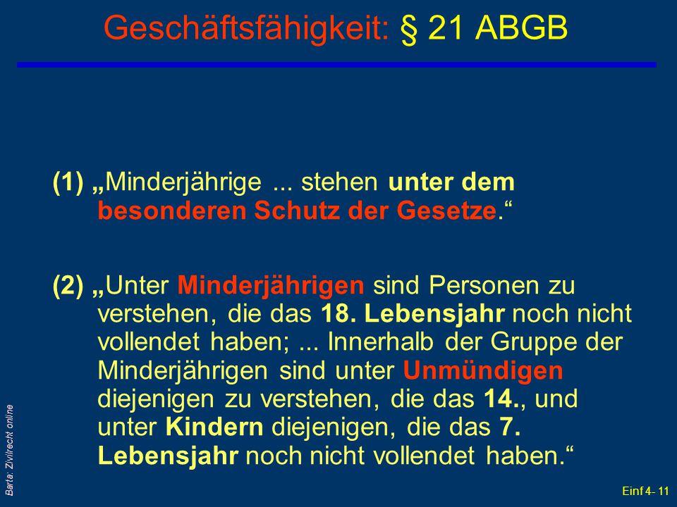 """Einf 4- 11 Barta: Zivilrecht online Geschäftsfähigkeit: § 21 ABGB (1) """"Minderjährige... stehen unter dem besonderen Schutz der Gesetze."""" (2) """"Unter Mi"""