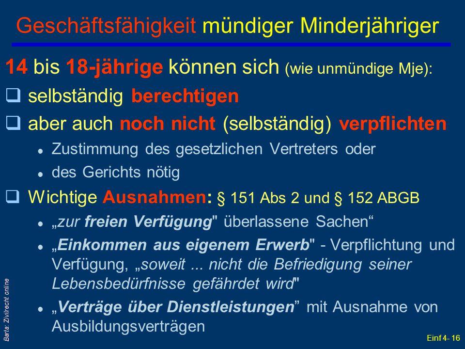 Einf 4- 16 Barta: Zivilrecht online Geschäftsfähigkeit mündiger Minderjähriger 14 bis 18-jährige können sich (wie unmündige Mje): qselbständig berecht