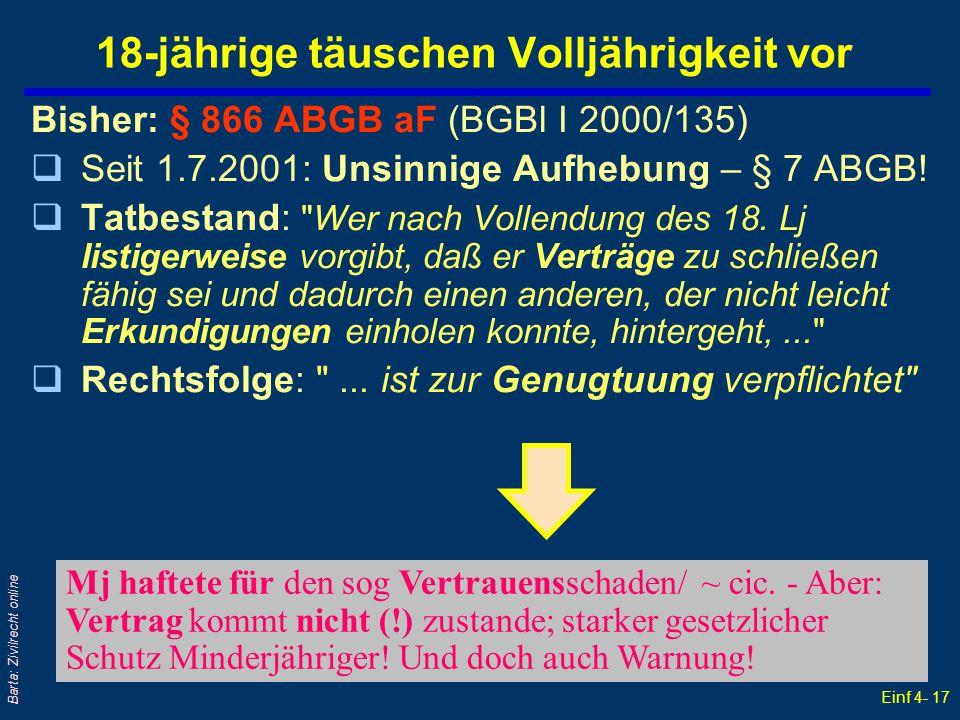 Einf 4- 17 Barta: Zivilrecht online 18-jährige täuschen Volljährigkeit vor Bisher: § 866 ABGB aF (BGBl I 2000/135) qSeit 1.7.2001: Unsinnige Aufhebung