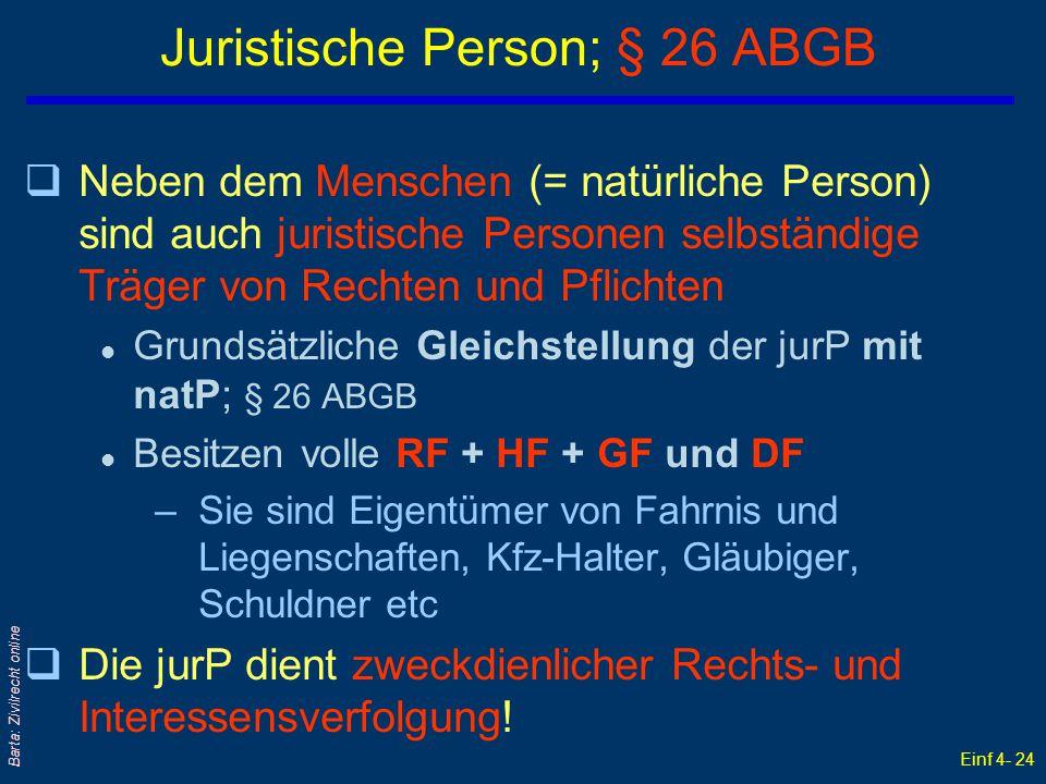 Einf 4- 24 Barta: Zivilrecht online Juristische Person; § 26 ABGB qNeben dem Menschen (= natürliche Person) sind auch juristische Personen selbständig