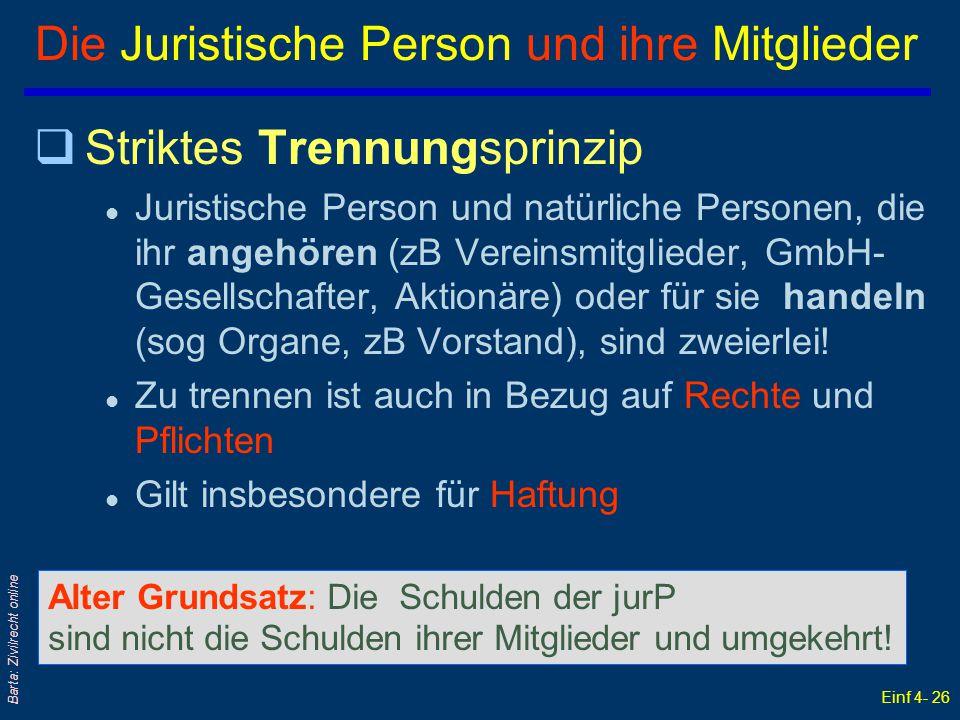 Einf 4- 26 Barta: Zivilrecht online Die Juristische Person und ihre Mitglieder qStriktes Trennungsprinzip l Juristische Person und natürliche Personen