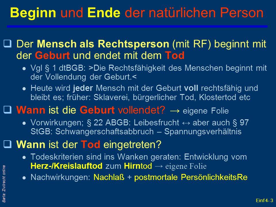 Einf 4- 3 Barta: Zivilrecht online Beginn und Ende der natürlichen Person qDer Mensch als Rechtsperson (mit RF) beginnt mit der Geburt und endet mit d