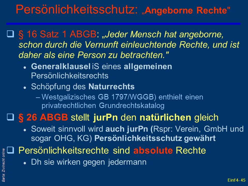 """Einf 4- 45 Barta: Zivilrecht online Persönlichkeitsschutz: """"Angeborne Rechte"""