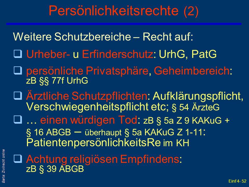 Einf 4- 52 Barta: Zivilrecht online Persönlichkeitsrechte (2) Weitere Schutzbereiche – Recht auf: qUrheber- u Erfinderschutz: UrhG, PatG qpersönliche