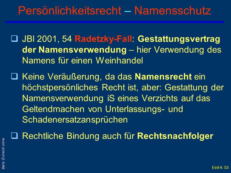 Einf 4- 53 Barta: Zivilrecht online Persönlichkeitsrecht – Namensschutz qJBl 2001, 54 Radetzky-Fall: Gestattungsvertrag der Namensverwendung – hier Ve