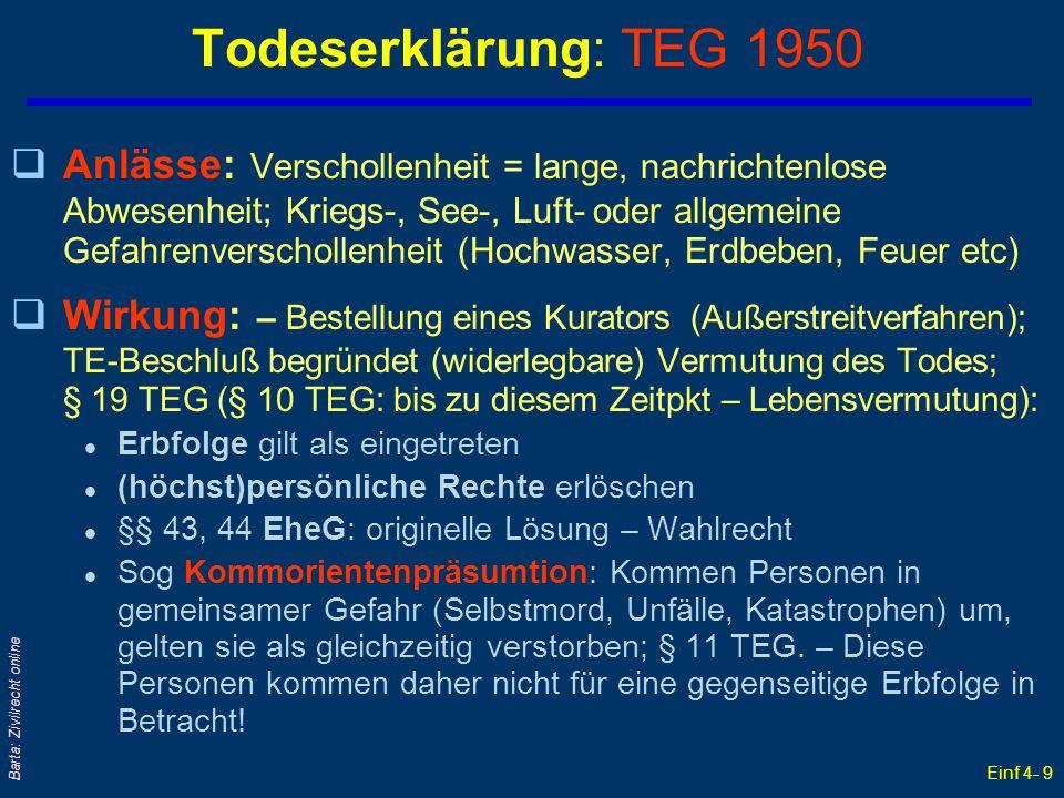Einf 4- 9 Barta: Zivilrecht online Todeserklärung: TEG 1950 qAnlässe: Verschollenheit = lange, nachrichtenlose Abwesenheit; Kriegs-, See-, Luft- oder
