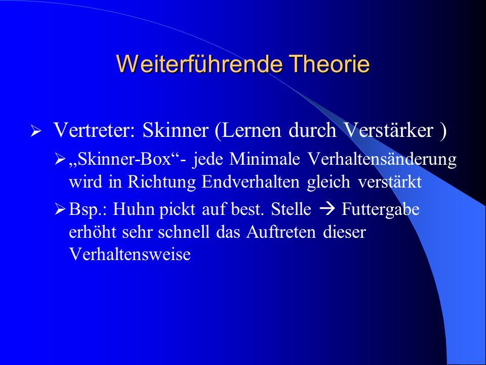 """Weiterführende Theorie  Vertreter: Skinner (Lernen durch Verstärker )  """"Skinner-Box""""- jede Minimale Verhaltensänderung wird in Richtung Endverhalten"""