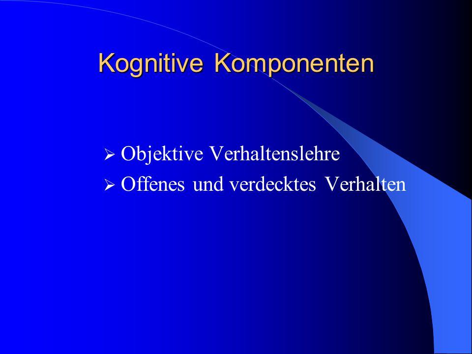 Kognitive Komponenten  Objektive Verhaltenslehre  Offenes und verdecktes Verhalten