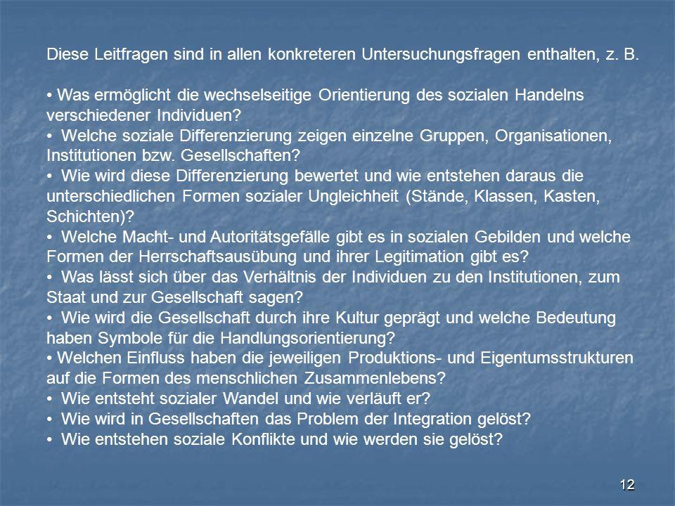 12 Diese Leitfragen sind in allen konkreteren Untersuchungsfragen enthalten, z. B. Was ermöglicht die wechselseitige Orientierung des sozialen Handeln