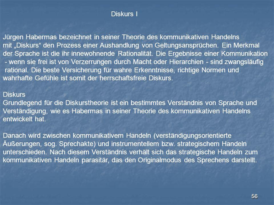 """56 Diskurs I Jürgen Habermas bezeichnet in seiner Theorie des kommunikativen Handelns mit """"Diskurs"""" den Prozess einer Aushandlung von Geltungsansprüch"""