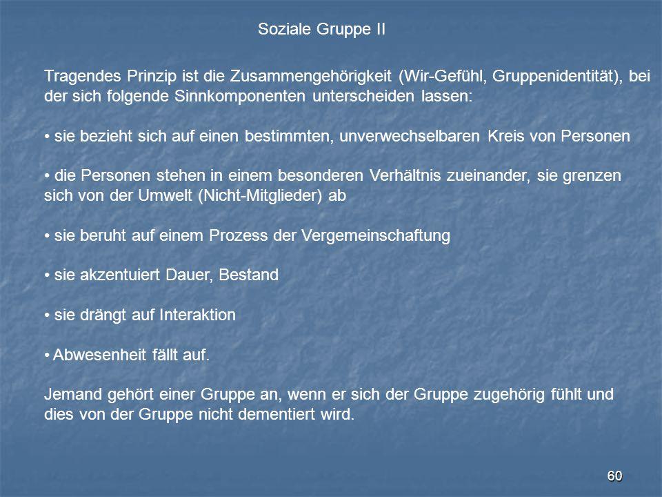 60 Soziale Gruppe II Tragendes Prinzip ist die Zusammengehörigkeit (Wir-Gefühl, Gruppenidentität), bei der sich folgende Sinnkomponenten unterscheiden