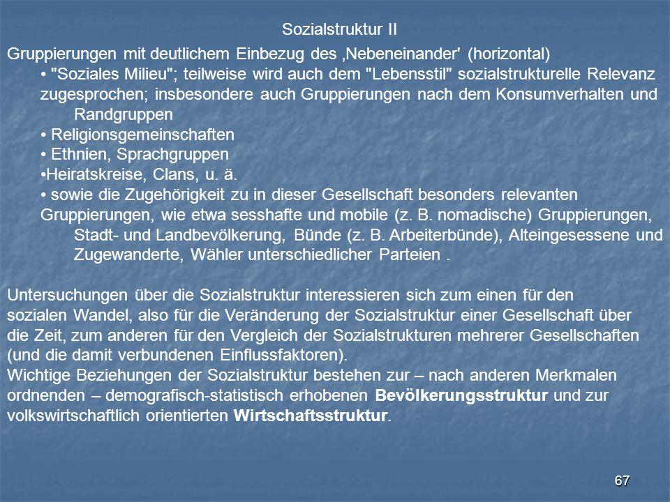 67 Sozialstruktur II Gruppierungen mit deutlichem Einbezug des 'Nebeneinander' (horizontal)