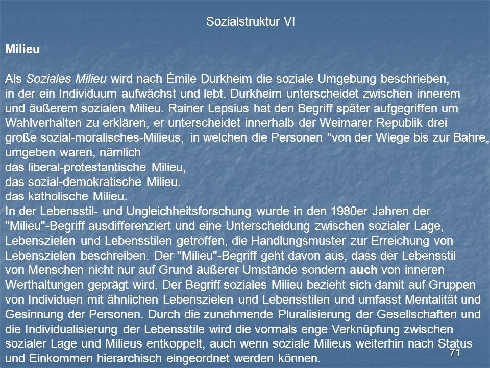 71 Sozialstruktur VI Milieu Als Soziales Milieu wird nach Émile Durkheim die soziale Umgebung beschrieben, in der ein Individuum aufwächst und lebt. D