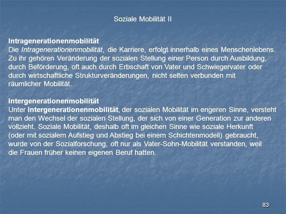 83 Soziale Mobilität II Intragenerationenmobilität Die Intragenerationenmobilität, die Karriere, erfolgt innerhalb eines Menschenlebens. Zu ihr gehöre