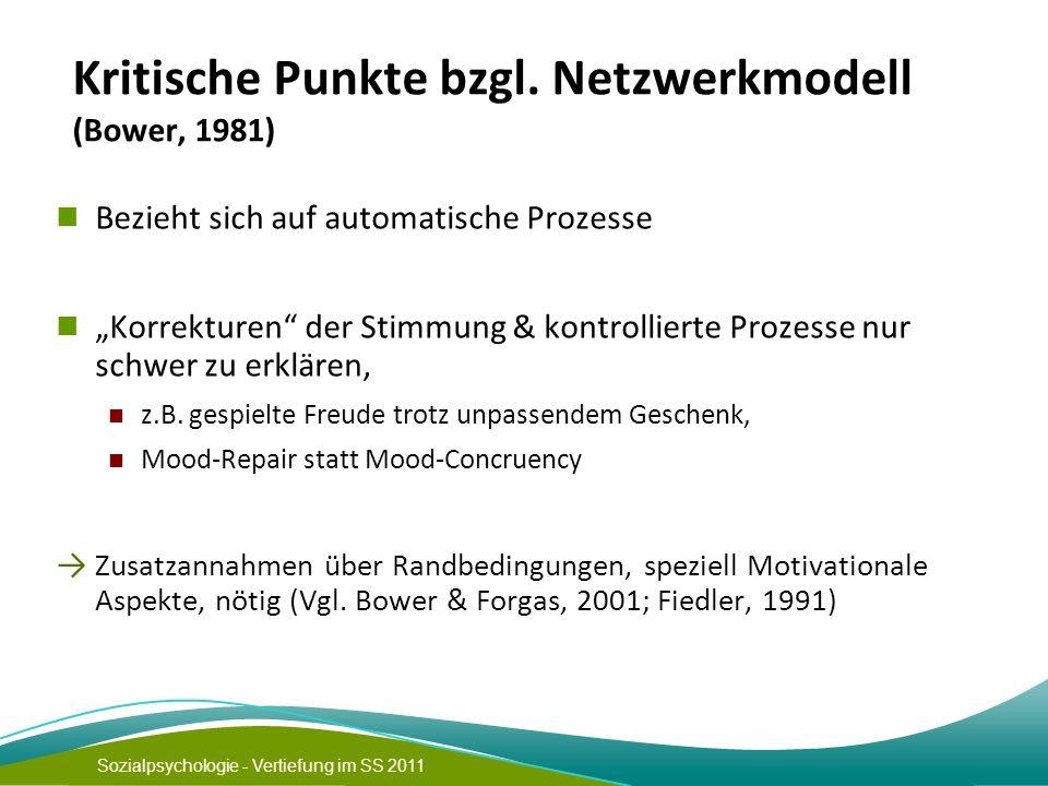"""Sozialpsychologie - Vertiefung im SS 2011 Kritische Punkte bzgl. Netzwerkmodell (Bower, 1981) Bezieht sich auf automatische Prozesse """"Korrekturen"""" der"""