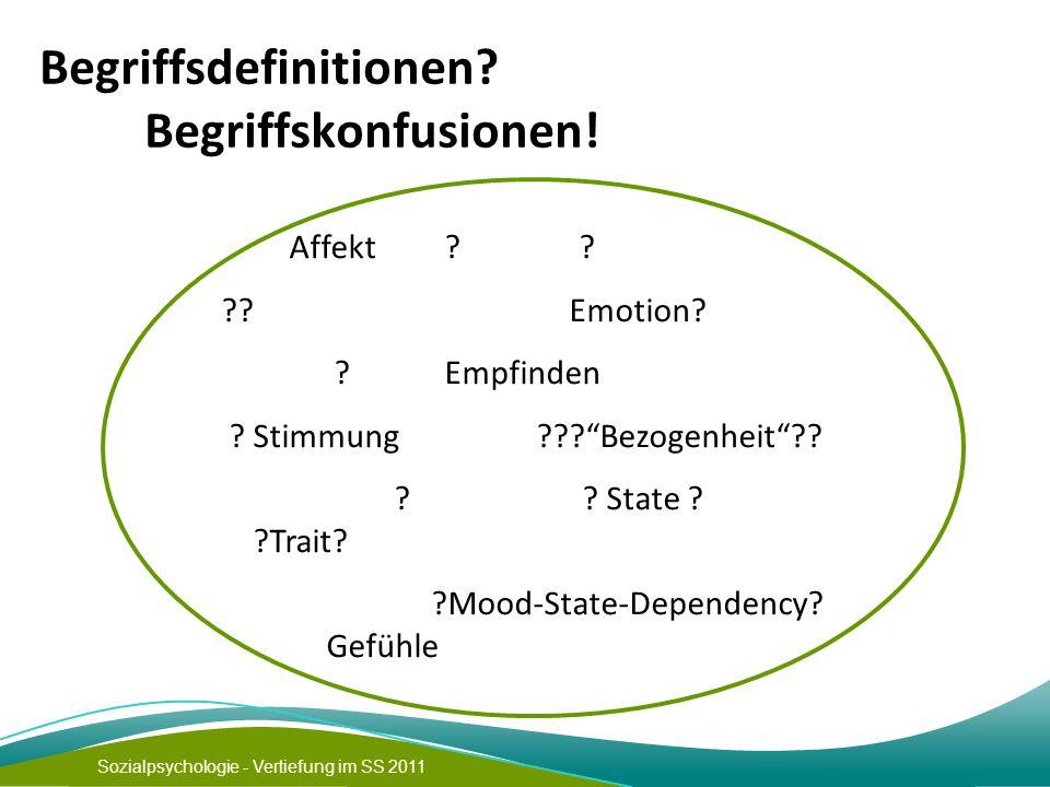 """Sozialpsychologie - Vertiefung im SS 2011 Begriffsdefinitionen? Begriffskonfusionen! Affekt ? ? ?? Emotion? ? Empfinden ? Stimmung ???""""Bezogenheit""""??"""