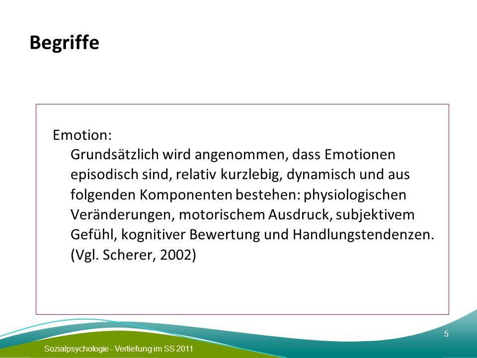 Sozialpsychologie - Vertiefung im SS 2011 5 Begriffe Emotion: Grundsätzlich wird angenommen, dass Emotionen episodisch sind, relativ kurzlebig, dynami