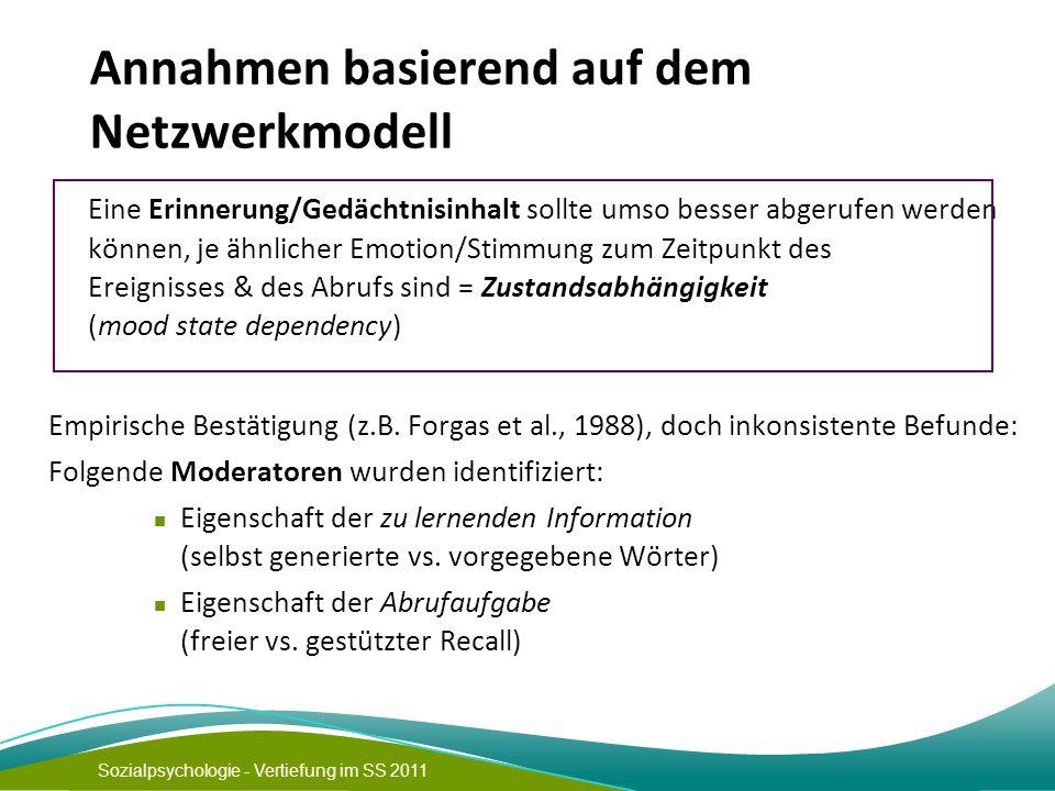 Sozialpsychologie - Vertiefung im SS 2011 Annahmen basierend auf dem Netzwerkmodell Eine Erinnerung/Gedächtnisinhalt sollte umso besser abgerufen werd