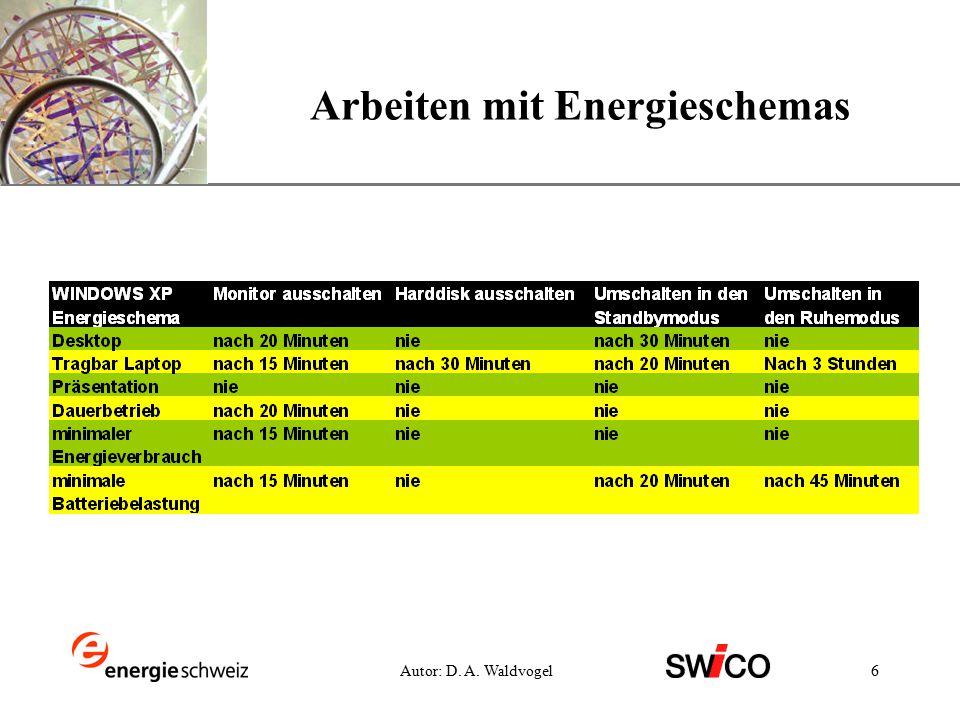 XP 6Autor: D. A. Waldvogel Arbeiten mit Energieschemas