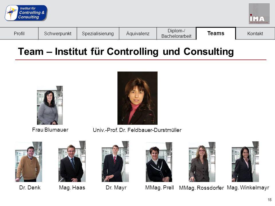 18 Team – Institut für Controlling und Consulting Frau Blumauer MMag. Rossdorfer MMag. PrellMag. HaasDr. DenkMag. Winkelmayr Dr. Mayr Univ.-Prof. Dr.