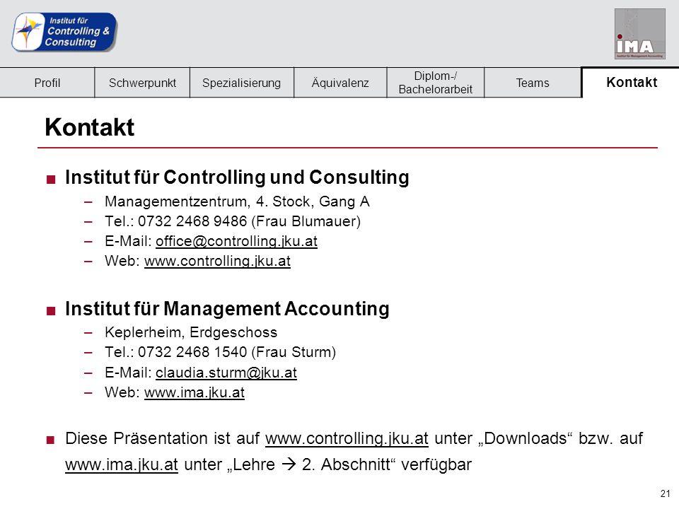 21 ProfilSchwerpunktSpezialisierungÄquivalenz Diplom-/ Bachelorarbeit Teams Kontakt ■Institut für Controlling und Consulting –Managementzentrum, 4.