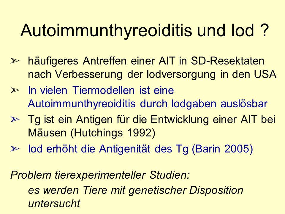 Autoimmunthyreoiditis und Iod ? ã häufigeres Antreffen einer AIT in SD-Resektaten nach Verbesserung der Iodversorgung in den USA ã In vielen Tiermodel