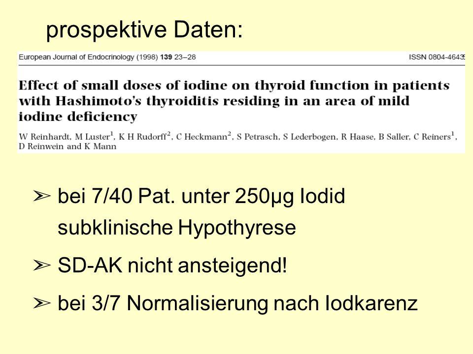 ã bei 7/40 Pat. unter 250µg Iodid subklinische Hypothyrese ã SD-AK nicht ansteigend! ã bei 3/7 Normalisierung nach Iodkarenz prospektive Daten: