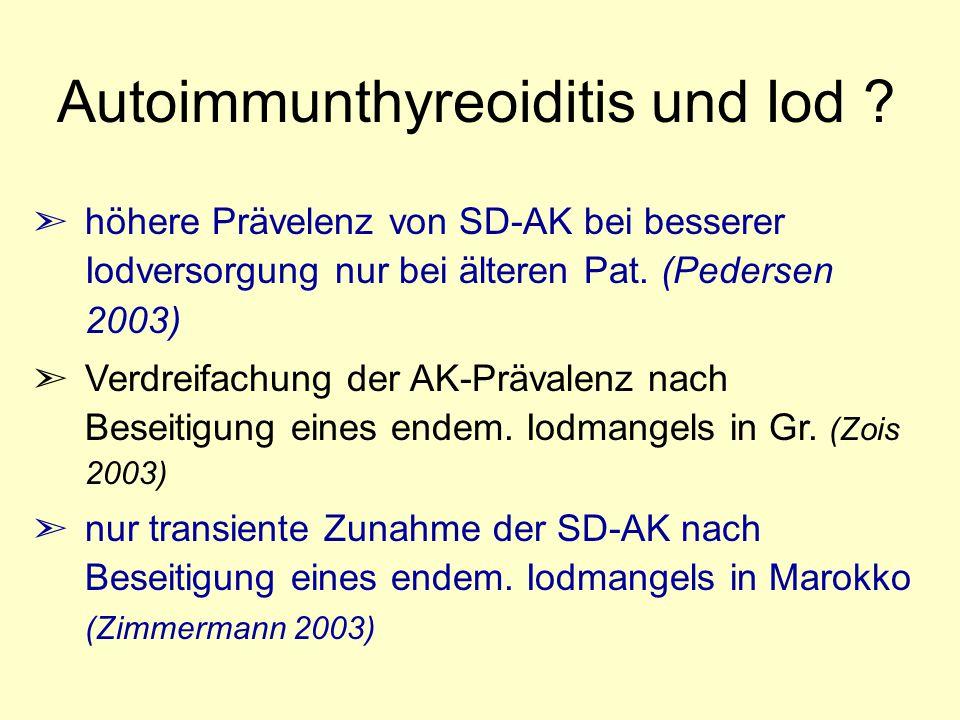 Autoimmunthyreoiditis und Iod ? ã höhere Prävelenz von SD-AK bei besserer Iodversorgung nur bei älteren Pat. (Pedersen 2003) ã Verdreifachung der AK-P