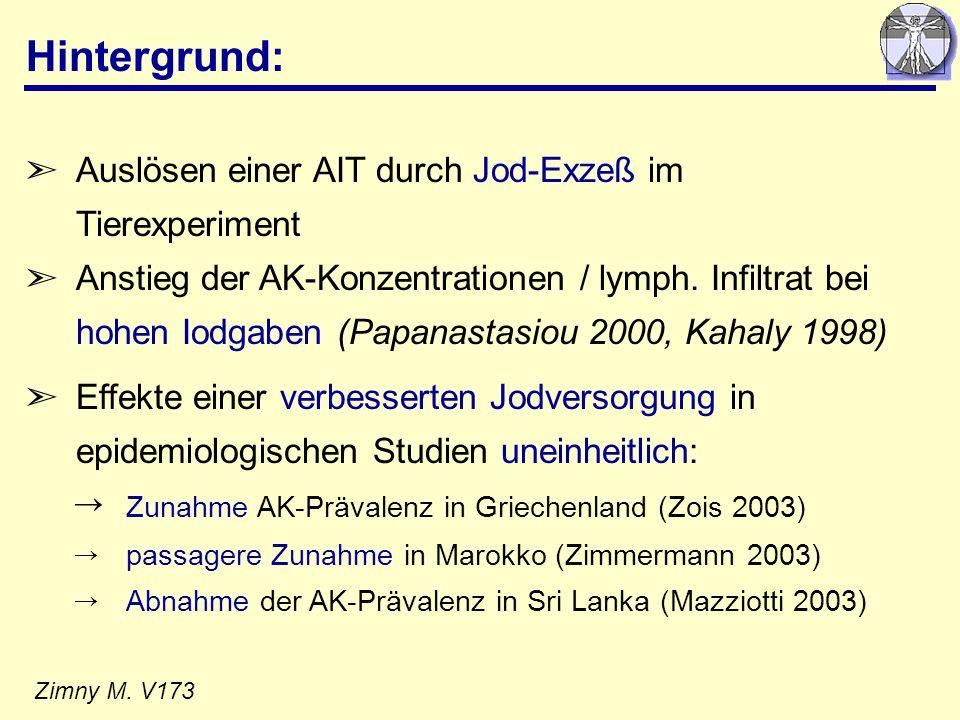 Hintergrund: ã Auslösen einer AIT durch Jod-Exzeß im Tierexperiment ãAnstieg der AK-Konzentrationen / lymph. Infiltrat bei hohen Iodgaben (Papanastasi