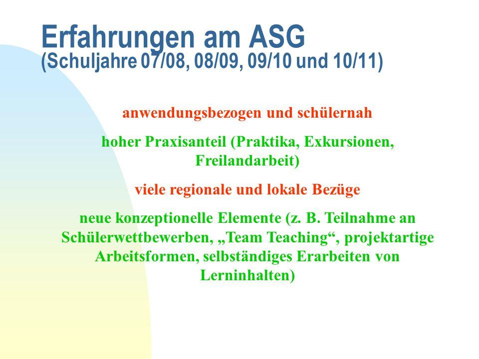 Erfahrungen am ASG (Schuljahre 07/08, 08/09, 09/10 und 10/11) anwendungsbezogen und schülernah hoher Praxisanteil (Praktika, Exkursionen, Freilandarbe