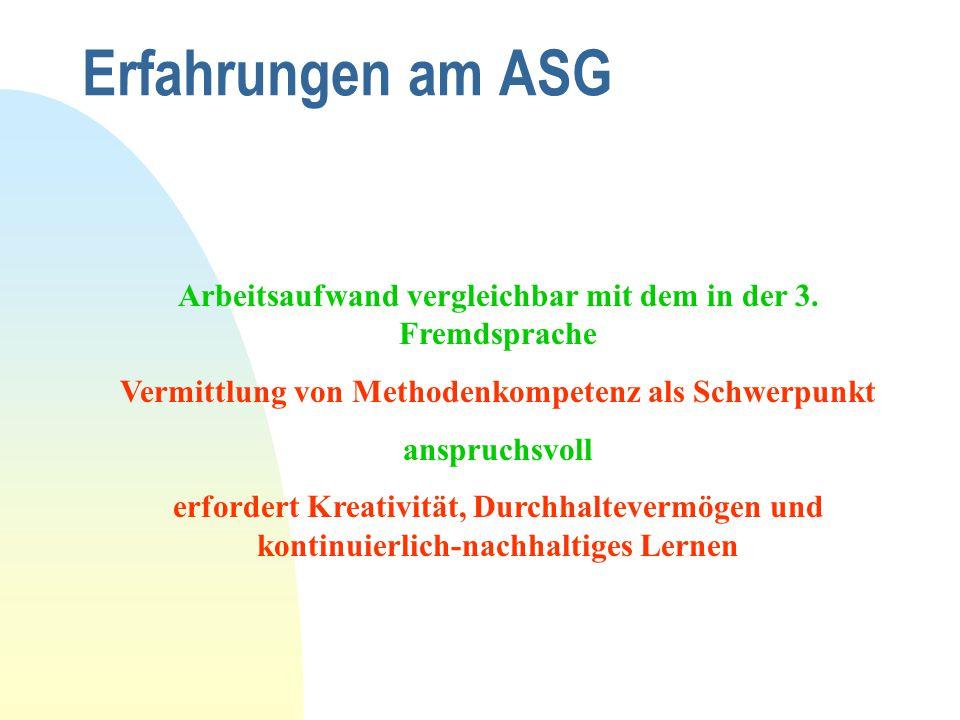 Erfahrungen am ASG Arbeitsaufwand vergleichbar mit dem in der 3. Fremdsprache Vermittlung von Methodenkompetenz als Schwerpunkt anspruchsvoll erforder