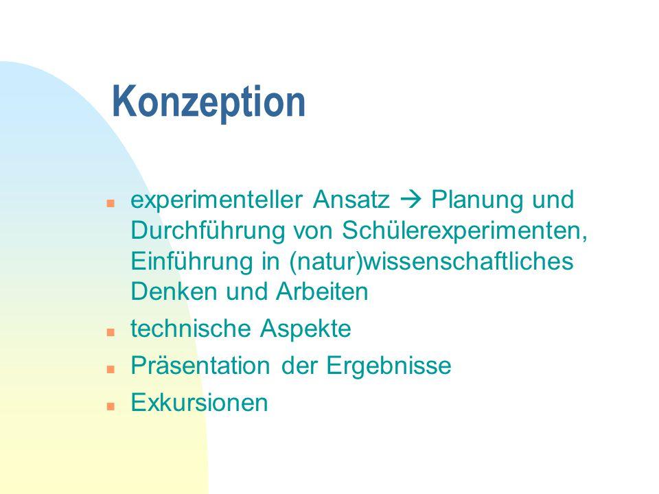 Konzeption n experimenteller Ansatz  Planung und Durchführung von Schülerexperimenten, Einführung in (natur)wissenschaftliches Denken und Arbeiten n