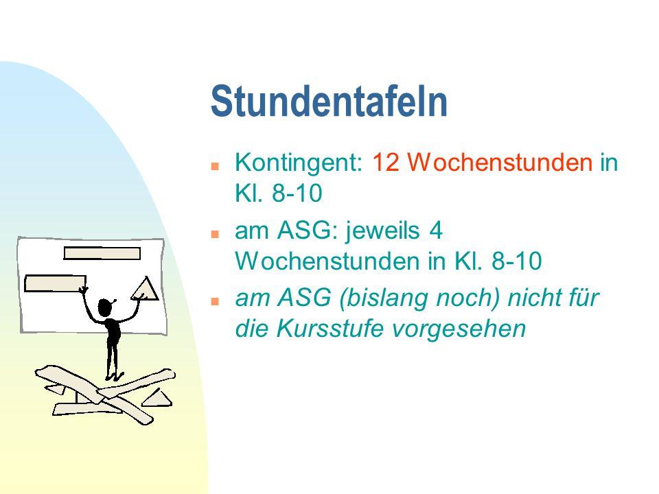 Stundentafeln n Kontingent: 12 Wochenstunden in Kl. 8-10 n am ASG: jeweils 4 Wochenstunden in Kl. 8-10 n am ASG (bislang noch) nicht für die Kursstufe