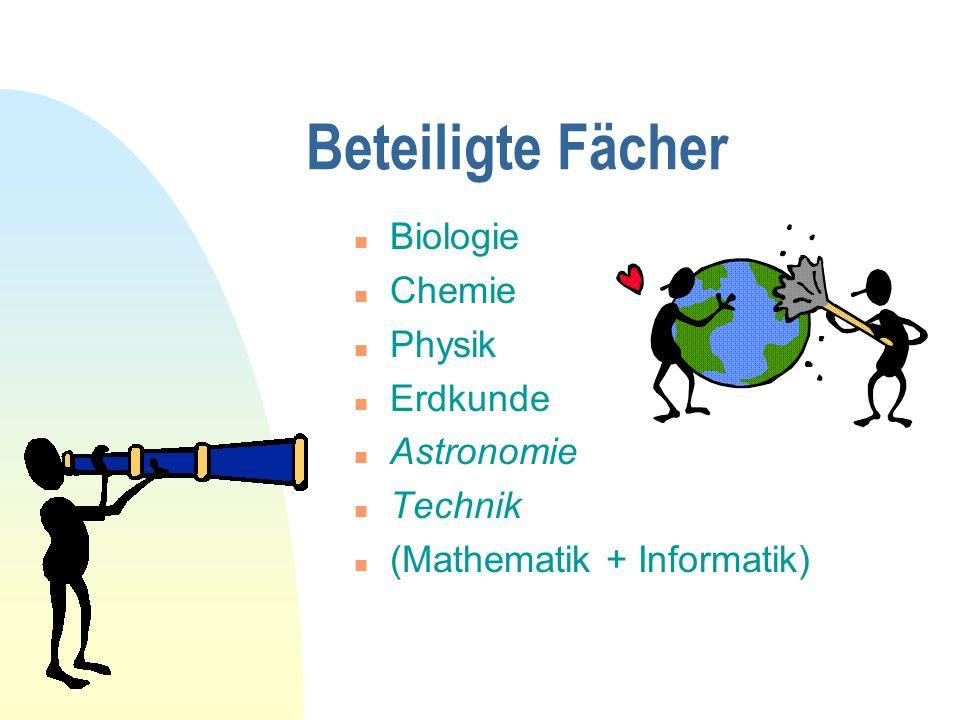 Beteiligte Fächer n Biologie n Chemie n Physik n Erdkunde n Astronomie n Technik n (Mathematik + Informatik)